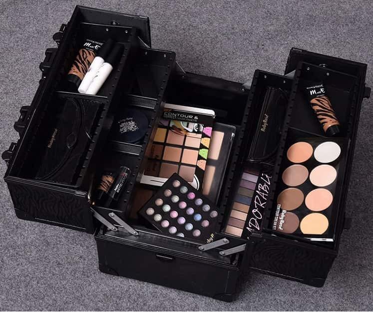 Бьюти бокс кейс визажиста для косметики с ремнем 335x235x220 мм черный  заказать - Интернет-магазин Аквагрим-StudioShop